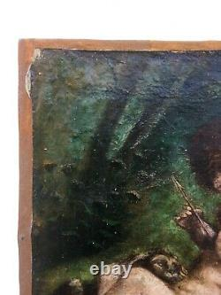 Ancient Painting Signed, Oil On Canvas, Angelots, Angels, Putti And Lion Cub, 19th