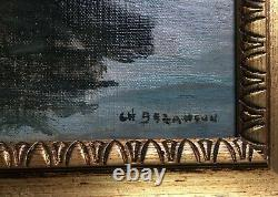 Ancient Painting Signed, Oil On Canvas, Docked Barge, Box, 19th