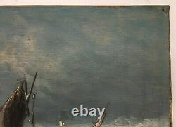 Ancient Painting Signed, Oil On Canvas, Marine, Fishermen At Sea, Boat, 19th