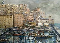Ancient Painting Signed Oil On Canvas Marine Landscape Italian Painting Hst