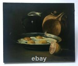 Ancient Painting Signed, Oil On Canvas, Still Life With Fried Eggs, Late 19th Century