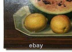 Ancient Painting Signed, Oil On Canvas, Still Life With Watermelon, 19th Century