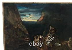 Ancient Painting Signed, Oil On Canvas, Tiger Game, 19th