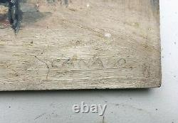 Ancient Painting Signed, Oil On Panel, Boulogne Wood Crew, Late 19th Century