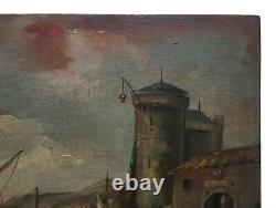 Ancient Painting Signed, Oil On Panel, Bustling Port City, 19th