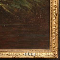 Ancient Painting Signed Oil Painting On Canvas Bucolic Scene 800 19th Century