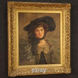 Ancient Painting Signed Portrait Oil On Canvas Woman Beautiful Epoch