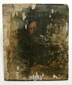 Ancient Painting To Restore, Oil On Panel, Portrait Of Men, 19th Or Before