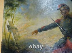 Ancient Patriotic Painting, Original 1st World War, Oil On Canvas