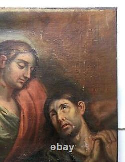Ancient Religious Painting, Oil On Canvas, French 18th School
