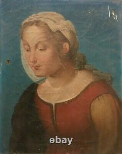 Ancient Religious Painting, Oil On Canvas, Portrait Of Woman, Holy 19th Century