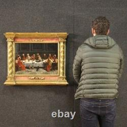 Ancient Religious Painting Oil On Panel Last Last Supper Frame Painting 500