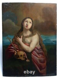 Ancient Religious Painting, Oil On Panel, Penitent, Vanity, 19th Or Before