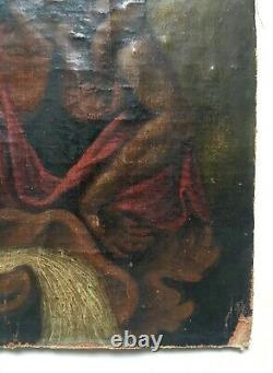 Ancient Religious Painting, Saint Christopher, Oil On Canvas, 19th Or Earlier