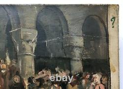 Ancient Religious Painting Signed And Dated 1893, Oil On Canvas, 19th Black Mass