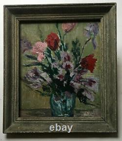 Ancient Signed Painting, Oil On Panel, Still Life, Flowers, Mid-20th