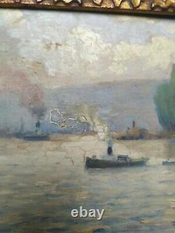 Ancient Table Around 1900 Marine Oil On Board Seine Maritime Signed