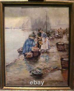 Ancient Table Oil On Canvas Fish Market