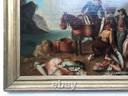 Ancient Table, Oil On Canvas, Fish Merchants, 19th Or Earlier