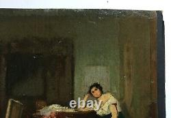 Ancient Table, Oil On Fine Cardboard, Indoor Scene, Late 19th Century