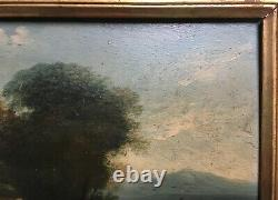 Ancient Table, Oil On Panel, Animated Landscape, 19th Or Earlier