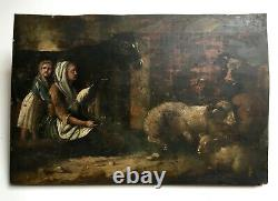 Ancient Table, Oil On Panel, Characters In A Stable, 19th