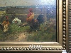 Ancient Table, Oil On Panel, Chickens And Rooster, Box, 19th