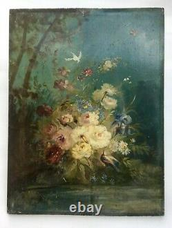 Ancient Table, Oil On Panel, Flower And Bird Bouquet, 19th