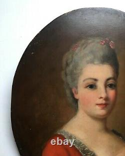 Ancient Table, Oil On Panel, Quality Lady Portrait, 19th Or Earlier