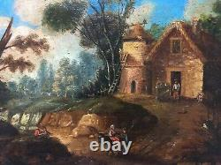 Ancient Table, Oil On Paper, Animated Landscape, Pigeonnier, 19th Or Earlier