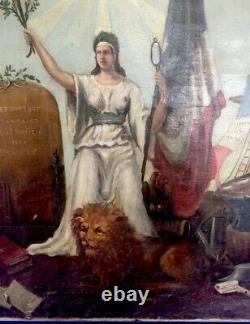 Ancient Table Signed 1875 Painting Oil On Canvas Esoteric Revolution