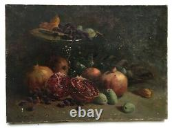 Ancient Table Signed, Oil On Canvas, Still Life In Grenades And Dates, Nineteenth