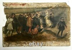 Ancient Watercolor In Renaissance Style, Oil On Paper, 19th Century