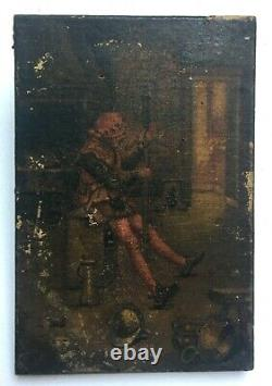 Antique Miniature Painting, Oil On Canvas, Soldier In An Interior, Late 19th Century