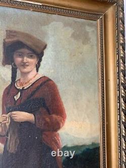 Antique Oil Painting On Canvas Portrait De Paysanne 19 Eme Century Realism