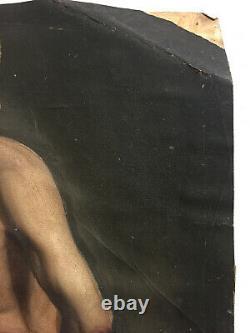 Antique Oil Painting On Marouflé Paper On Cardboard Unknown (xixe-s) Portrait