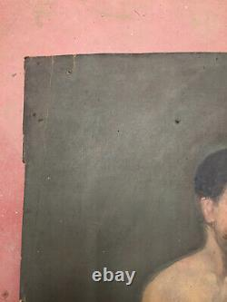 Antique Oil Painting On Thick Cardboard Inconnu (xixe-s) Character