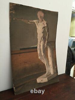 Antique Oil Painting On Thick Cardboard Inconnu (xixe-s) Statue