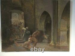 Antique Painting / Genre Scene / Oil On Canvas Large Format / To Restore