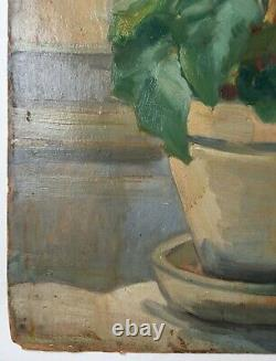 Antique Painting, Modern School, Oil On Cardboard, Double Face, Animated Scene, 20th