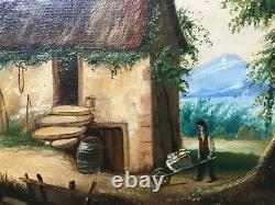 Antique Painting, Oil On Canvas, Animated Landscape, Chaumière, Box, 19th