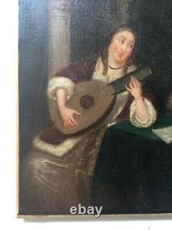 Antique Painting, Oil On Canvas, Couple Of Musicians In An Interior, 19th Century