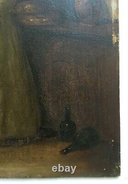 Antique Painting, Oil On Panel, Interior Scene, Kitchenware, 19th Century