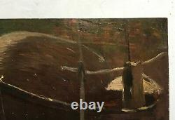 Antique Painting, Oil On Parquet Panel, Barque At Anchor, Early 20th Century