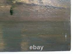 Antique Painting, Post-impressionist School, Oil On Paper, Marine, Early 20th Century