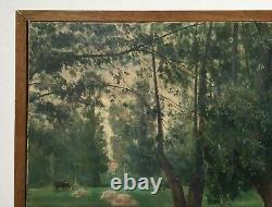 Antique Painting Signed, Oil On Canvas, Clairière, Vache, Large Format, Early 20th Century