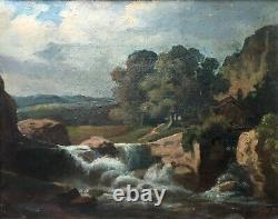 Antique Painting Signed, Oil On Canvas, Landscape At The Waterfall, Box, Early 20th Century