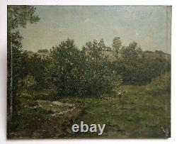 Antique Painting Signed, Oil On Terracotta Plate, Animated Landscape, Early 20th Century