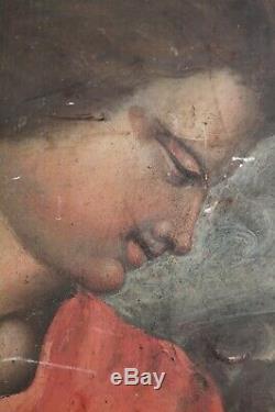 Archangel Gabriel Oil On Old Panel