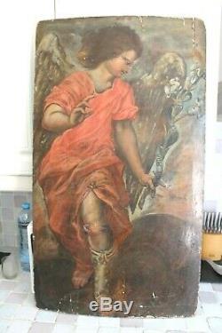 Archangel Gabriel Old Oil On Panel